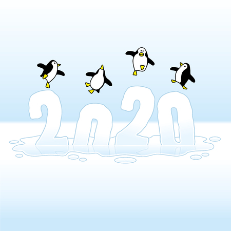 Four Happy Party Penguins Dancing on top of Melting Year 2020 of Ice Sinking into Puddle