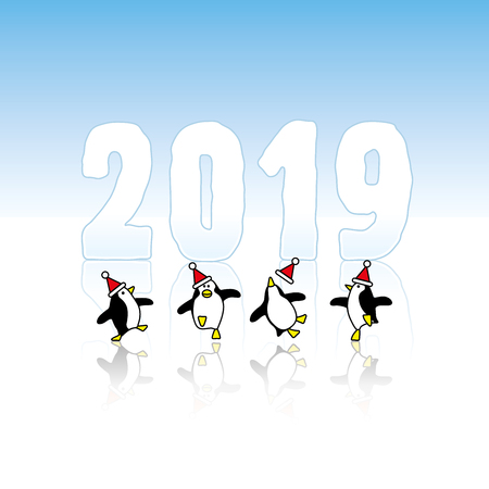 Four Happy Party Penguins wearing Santa hats Dancing in front of Year 2019 made in Ice Illustration