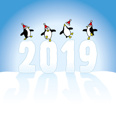 Four Happy Santa Penguins Dancing on top of Frozen Year 2019 made in Snow on Blue Horizon   Illustration