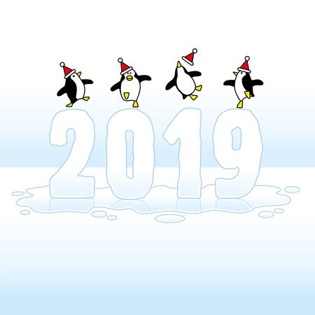 Four Happy Santa Penguins Dancing on top of a melting Frozen Year 2019 made in Ice on Blue Horizon Illustration