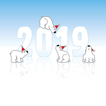 Four Polar Bears wearing Santa Hats around Frozen New Year 2019 with Reflections on an Ice Blue Cold Background