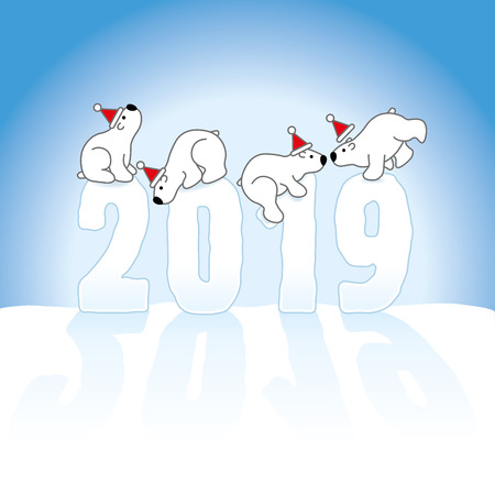 Four Cute Polar Bears wearing Santa Hars Balancing on Frozen New Year 2019 numbers on Snow with an Ice Blue Background Illustration