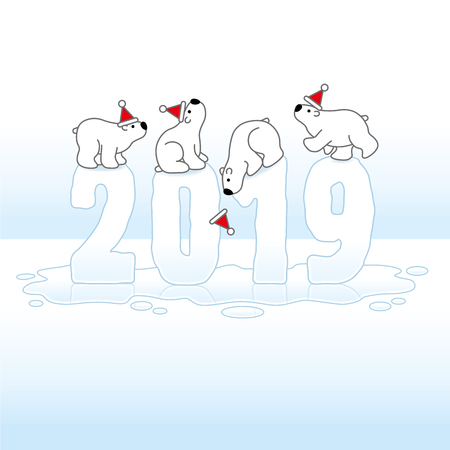 Four Cute Polar Bears wearing Santa Hats Balancing on Melting Frozen New Year 2019 with Reflections in an Ice Cold Puddle Illustration