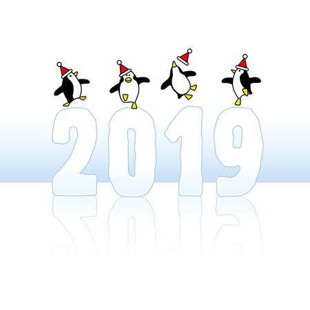 Four Happy Party Penguins Wearing Santa Hats Dancing on top of frozen Year 2019 of Ice