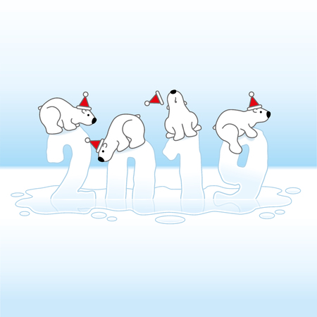 Four Cute Polar Bears wearing Santa Hats Balancing on Frozen Melting New Year 2019 with Reflections in an Ice Cold Puddle