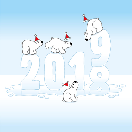 Four Cute Polar Bears wearing Santa Hats Balancing on Melting Frozen New Year 2018-19 with Reflections in an Ice Cold Puddle
