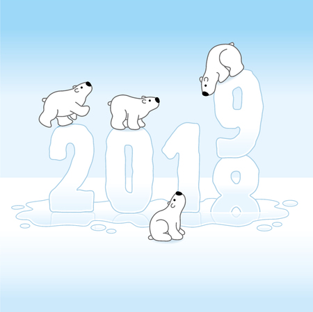 Four Cute Polar Bears Balancing on Melting New Year 2018-2019 with Reflections in an Ice Cold Puddle