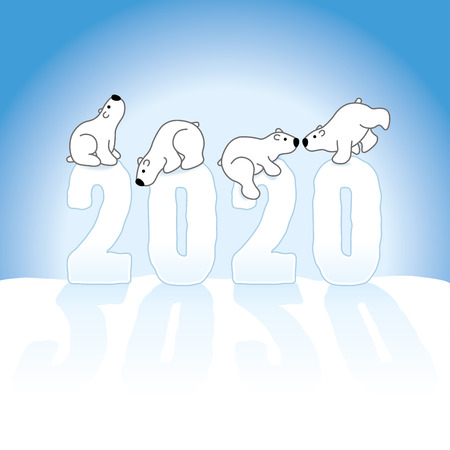 Four Cute Polar Bears Balancing on Frozen New Year 2020 with long shadows in Snow with Ice Blue Background Illustration