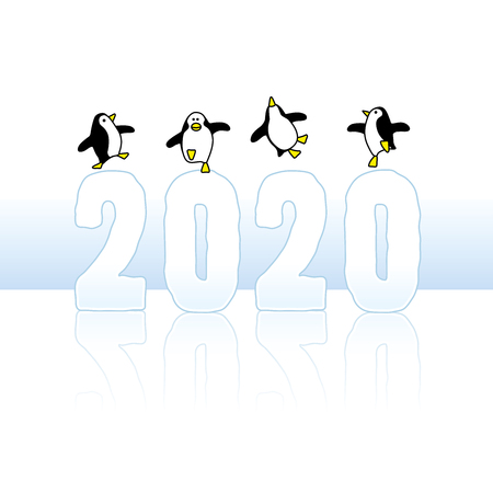 Four Happy Penguins Dancing on top of Frozen Year 2020 made in Ice with Reflections
