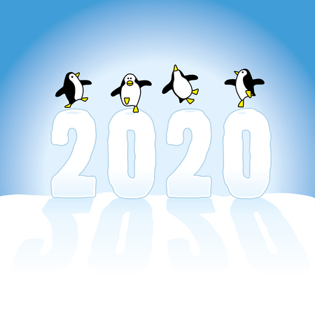 Four Happy Penguins Dancing on top of Frozen Year 2020 made in Snow on Blue Horizon Illustration
