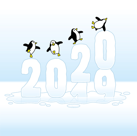 Four Happy Party Penguins Dancing on top of Frozen Changing Year 2019-2020 made of Ice Illustration