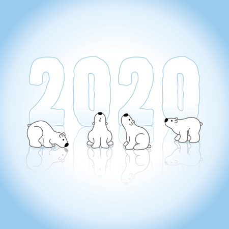 Four Polar Bears In Front of Frozen New Year 2020 on an Ice Blue Cold Background with Reflections