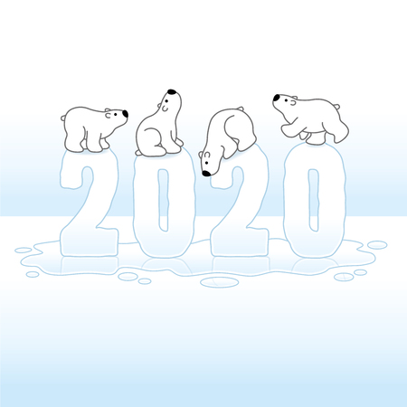 Four Cute Polar Bears Balancing on Melting Ice New Year 2020 on Ice Cold Puddle with Reflections