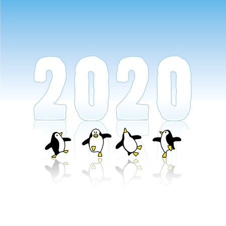 Four Happy Penguins Dancing in front of Frozen Year 2020 on reflective Ice