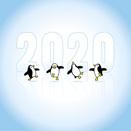 Four Happy Penguins Dancing in front of Frozen Year 2020 on Blue Ice Stock Illustratie