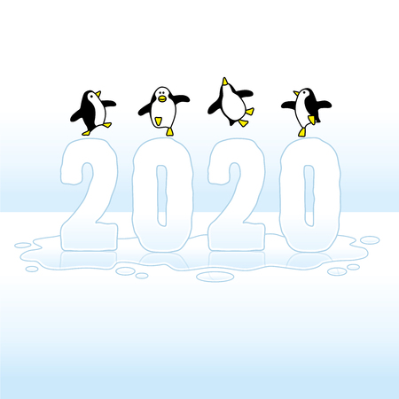 Four Happy Penguins Dancing on top of Melting Year 2020 in Ice on big Puddle Illustration