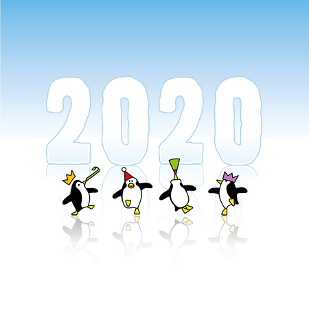 Four Happy Partying Penguins wearing Paper Hats Dancing in front of Frozen Year 2020 with reflections in Ice