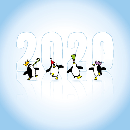 Four Happy Partying Penguins wearing colorful Paper hats Dancing in front of Frozen Year 2020 with reflections in Ice