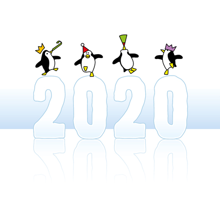 Four Happy Party Penguins wearing colorful Paper Hats Dancing on top of Frozen Year 2020 with reflection on Ice
