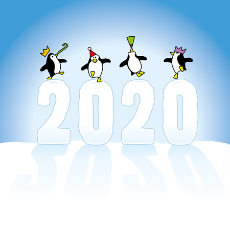 Four Happy Party Penguins colorful wearing Paper Hats Dancing on top of Year 2020 made in Snow with long shadows on Blue Horizon Illustration