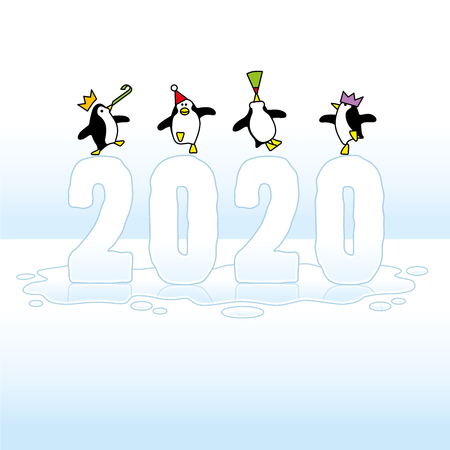Four Happy Party Penguins wearing colorful Paper Hats Dancing on top of melting Year 2020 of Ice in wet Puddle on Blue Horizon Illustration