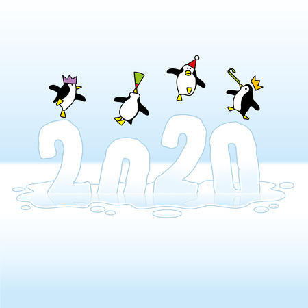 Four Happy Party Penguins wearing colorful Paper Hats Dancing on top of melting Year 2020 made of Ice Sinking into a Puddle Illustration