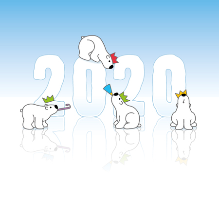 Four Cute Polar Bears wearing Colorful Paper Hats around Frozen New Year 2020 on an Ice Blue Cold Background with Reflections