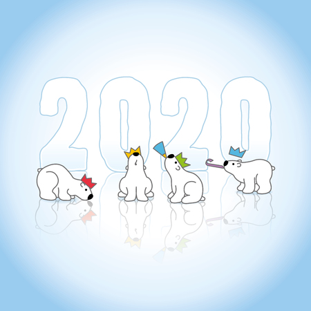 Four Partying Polar Bears wearing colorful Paper Hats sitting around Frozen New Year 2020 with Reflections on an Ice Blue Cold Background
