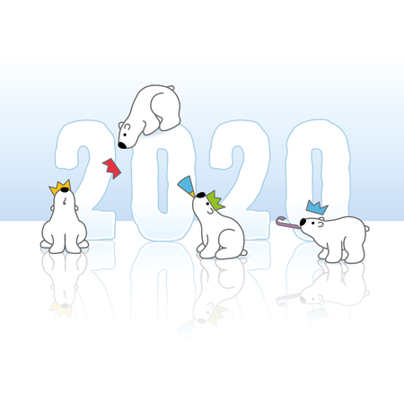 Four Cute Partying Polar Bears wearing Paper Hats around Frozen New Year 2020 with Reflections on an Ice Blue Cold Background