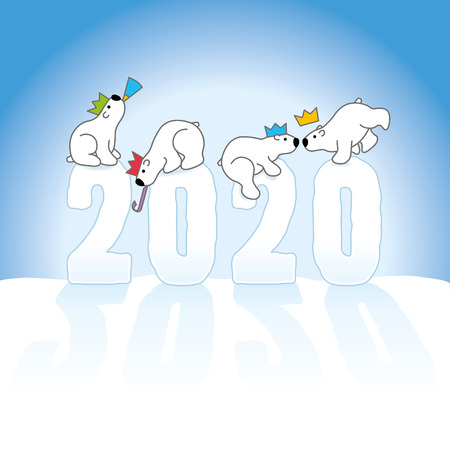 Four Cute Partying Polar Bears wearing paper hats while Balancing on Frozen New Year 2020 numbers with lonf shadows on Snow with Blue Background