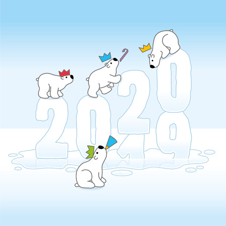 Four Cute Partying Polar Bears wearing paper Hats Balancing on Frozen Changing New Year 2019-2020 Melting on an Ice Cold Puddle Vettoriali