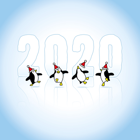 Four Happy Party Penguins wearing Santa Claus Hats Dancing in front of Frozen Year 2020 with reflections in Ice