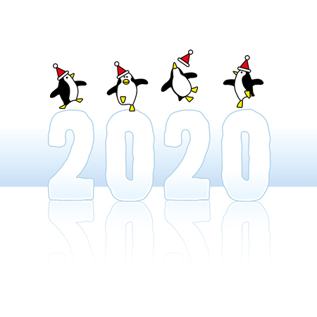Four Happy Party Penguins wearing Santa Claus Hats Dancing on top of Frozen Year 2020 with reflections on Ice Stock Illustratie