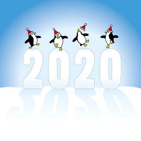 Four Happy Party Penguins wearing Santa Claus Hats Dancing on top of Frozen Year 2020 made in Snow dasting long shadows on Blue Horizon Illustration