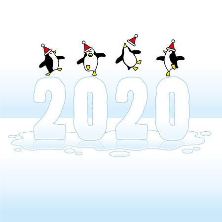 Four Happy Party Penguins wearing Santa Claus Hats Dancing on top of melting frozen Year 2020 on wet puddle against a Blue Horizon