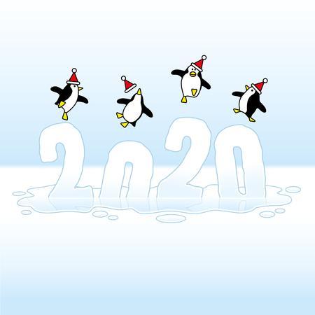 Cuatro pingüinos de fiesta feliz con sombreros de Santa Claus bailando sobre el derretimiento del año congelado 2020 hundiéndose en un charco helado