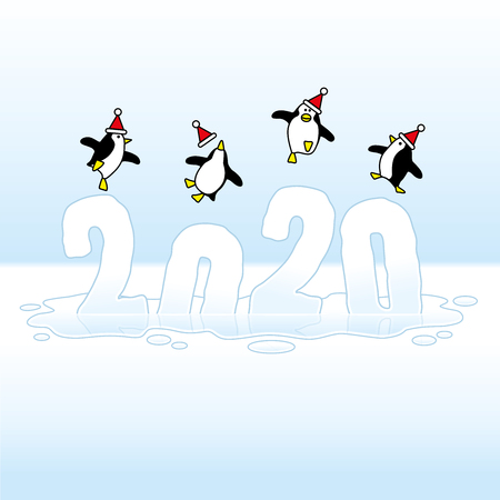 Four Happy Party Penguins wearing Santa Claus Hats Dancing on top of melting Frozen Year 2020 sinking into an icy Puddle Illustration