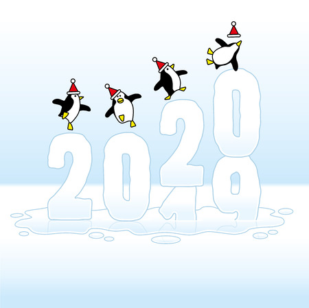 Four Happy Party Penguins wearing Santa Claus Hats Dancing on top of Frozen Changing Year 2019-2020 made of Ice Sinking in Puddle Illustration