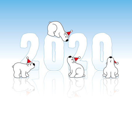 Four Cute Polar Bears wearing Santa Claus Hats around Frozen New Year 2020 with Reflections on an Ice Blue Cold Background