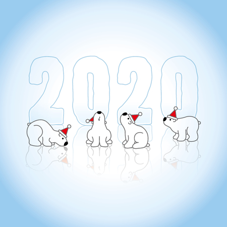 Four Polar Bears wearing Santa Claus Hats and Frozen New Year 2020 with Reflections on an Ice Blue Cold Background Illustration