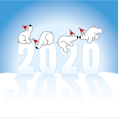 Four Cute Polar Bears Wearing Santa Claus hats Balancing on Frozen New Year 2020 numbers on Snow with Ice Blue Background Stock Illustratie