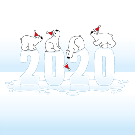 Four Cute Polar Bears wearing Santa Claus Hats Balancing on Frozen Melting New Year 2020 with Reflections on Ice Cold Puddle