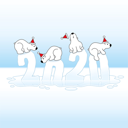 Four Cute Polar Bears wearing Santa Claus Hats Balancing on Sinking Frozen New Year 2020 with Reflections in an Ice Cold Puddle