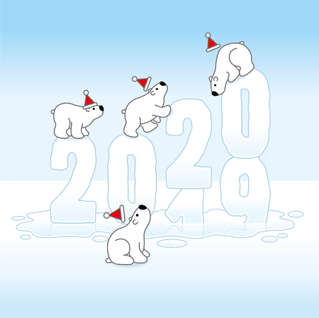 Four Cute Polar Bears wearing Santa Claus Hats Balancing on Changing Frozen New Year 2019-2020 with Reflections melting in an Ice Cold Puddle Illustration