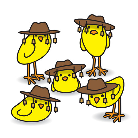 Five Yellow Aussie Chicks Staring towards camera wearing traditional Australian Bush Hats Ilustrace