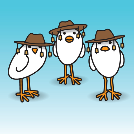 Three White Aussie Chicks Staring towards camera wearing traditional Australian Bush Hats