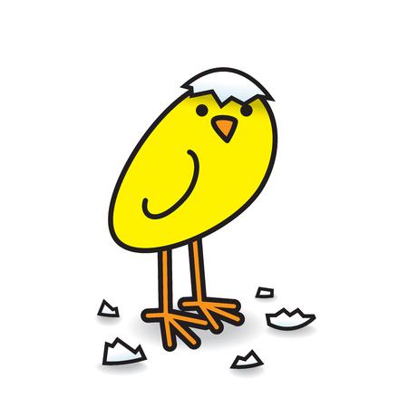 Solo lindo pollito amarillo recién nacido con fragmentos de cáscara de huevo girando la cabeza y mirando hacia la cámara
