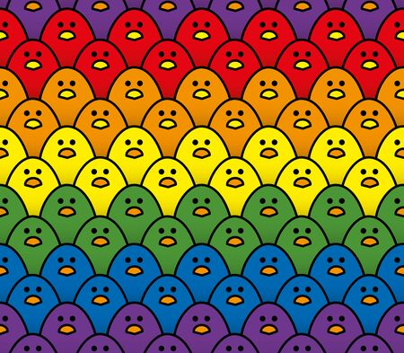 Horizontal Repeating Double Row Pattern of Staring Cute Little Chicks in Rainbow Colours of the LGBT Pride Flag