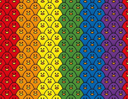 Répétition verticale motif de rangées triples de regarder de mignons petits poussins aux couleurs de l'arc-en-ciel du drapeau de la fierté LGBT Vecteurs