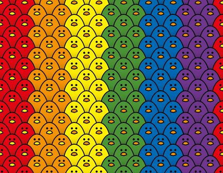 Vertical Repeating Treble Row Pattern of Staring Cute Little Chicks in Rainbow Colours of the LGBT Pride Flag Illustration